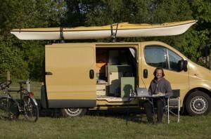 Mobiles Büro, z.Zt. im Spreepark in Beskow