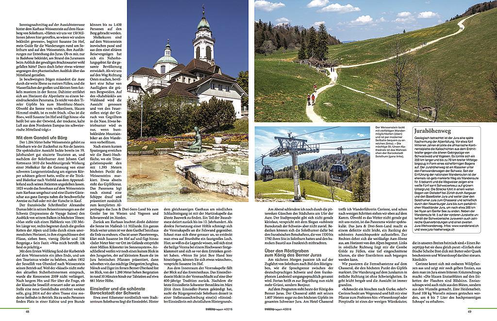 Jura & Drei-Seen-Land - erschienen im Trekkingmagazin 04/2016