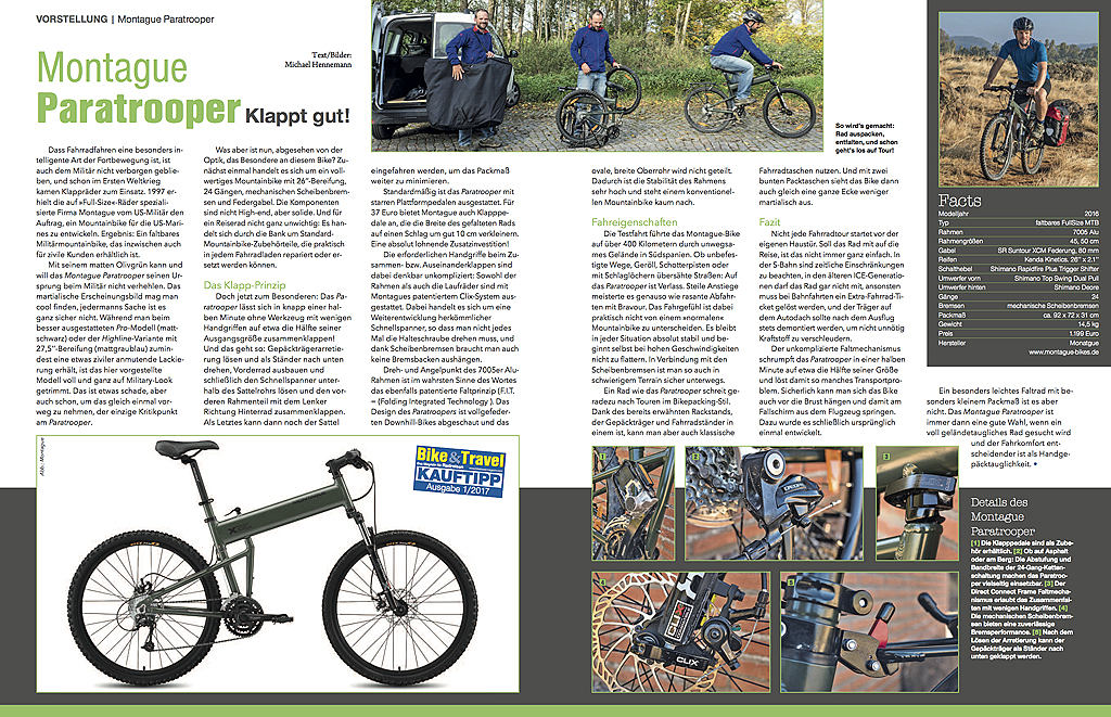 Klappt gut! - erschienen in Bike & Travel 01/2017