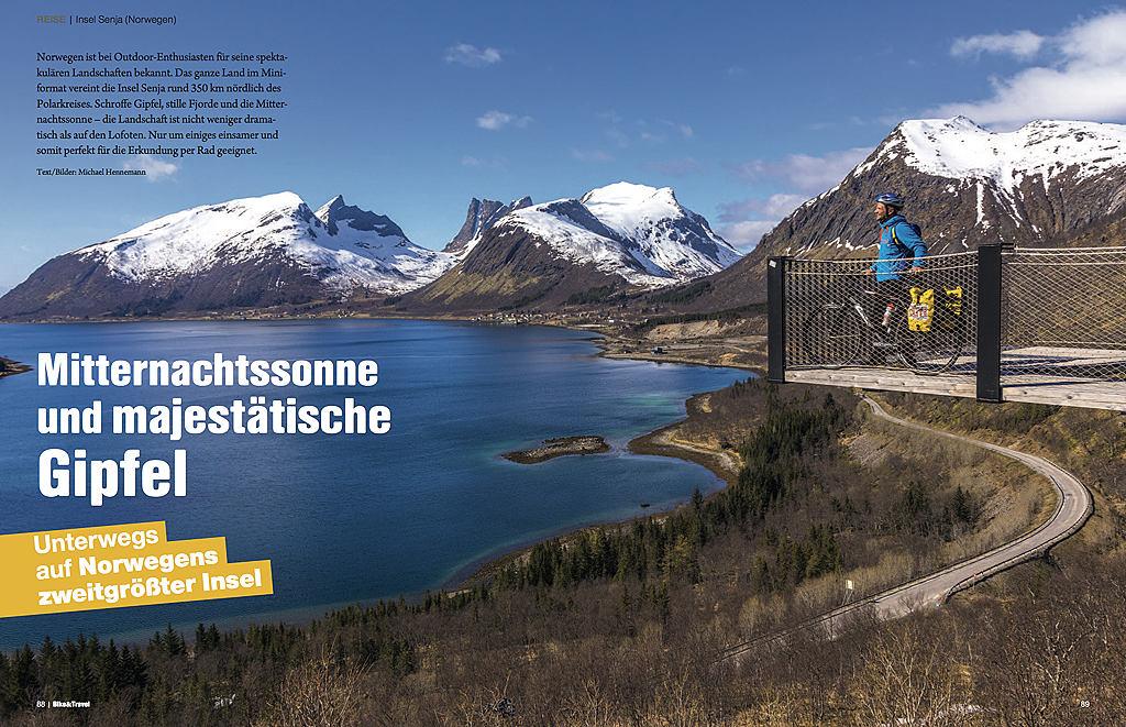 Mitternachtssonne und majestätische Gipfel - erschienen in Bike & Travel 02/2018