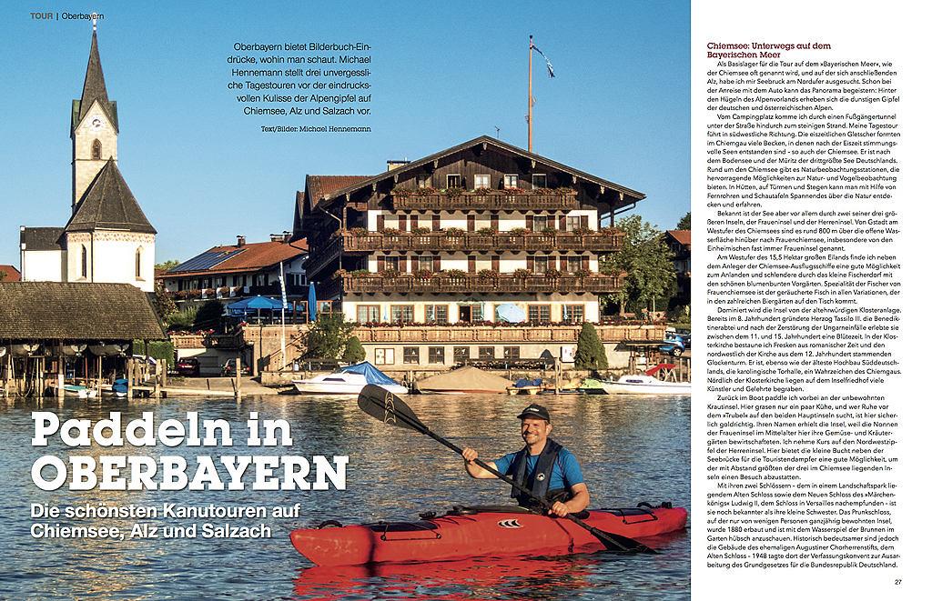 Paddeln in Oberbayern - erschienen im Kajakmagazin 03/2018